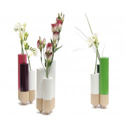 Vase Soliflore design en bois PIK