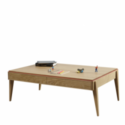 Table basse design en bois massif Chêne avec Liseré de couleur personalisable