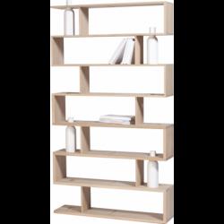 Bibliothèque contemporaine bois et vase céramique
