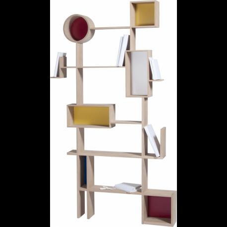 Bibliothèque design légère et atypique en bois RESO
