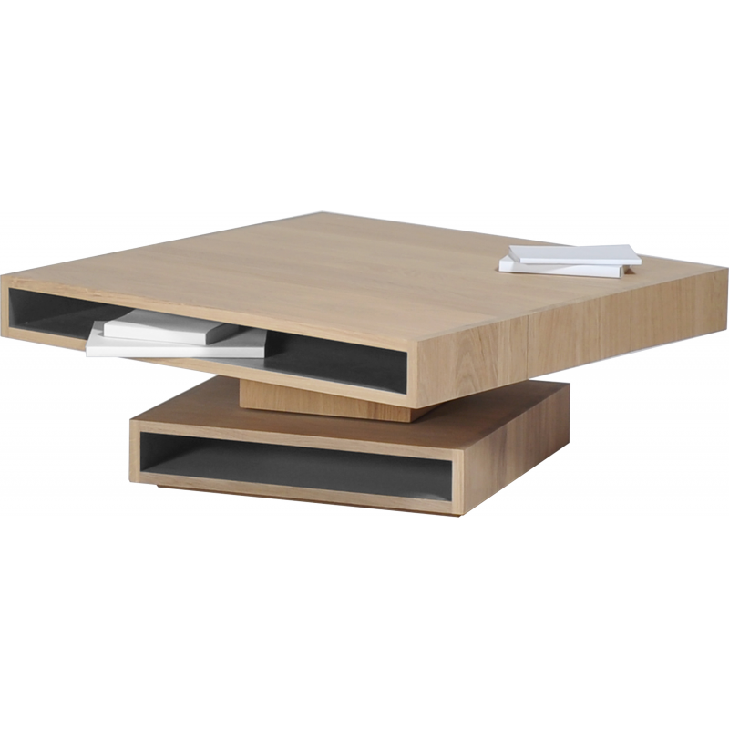 Table basse pivotante design personnalisable en bois cubocarr for Table basse bois design