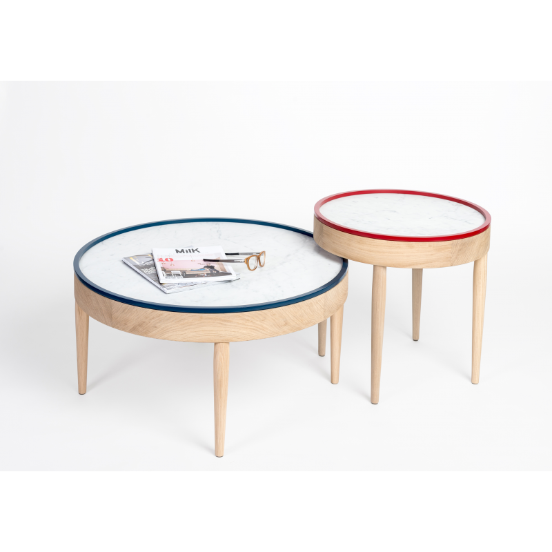 Table basse bois ronde design for Table basse gigogne ronde bois