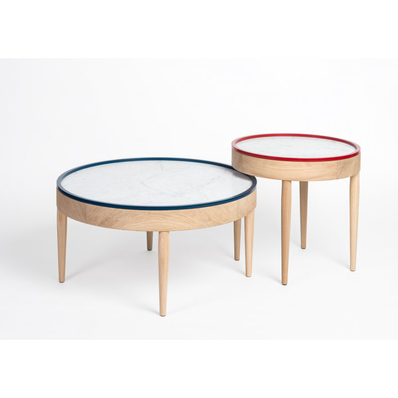 Table basse bois ronde design for Table design ronde