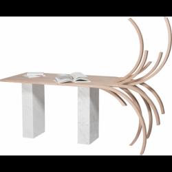 Bureau au design extravagant et unique en bois et marbre de Carrare REBELLE