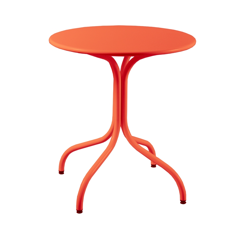 Beautiful table de jardin metal orange photos awesome for Table ronde metal