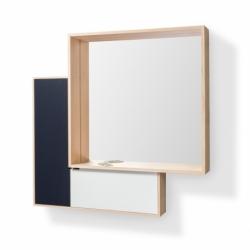 Miroir et rangement d'entrée design en bois OMBRE