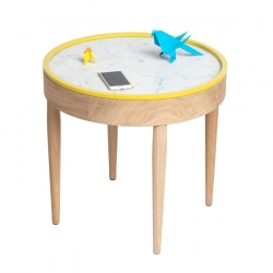 Table basse ronde design marbre bois BOUILLOTTE