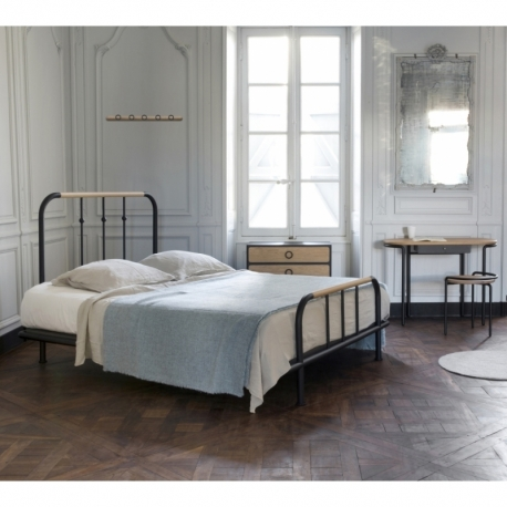 Lit double métal bois Monsieur et Madame design 140cm