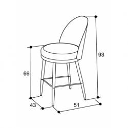 Chaise semi-haute design métal tissu Lili