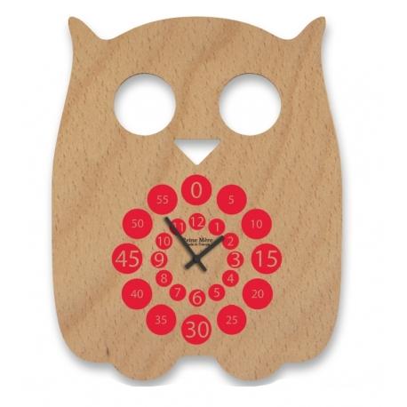 Horloge design en bois Hiboo