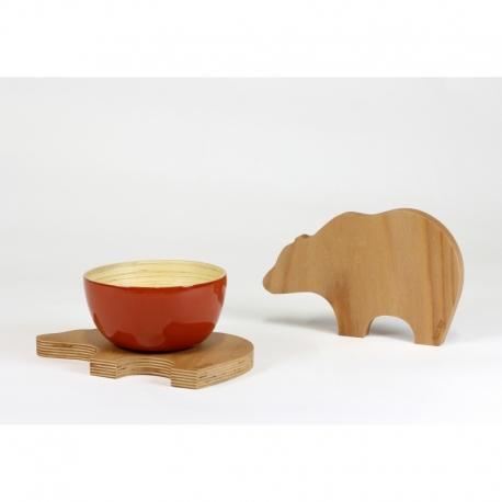 Dessous de plat design en bois et forme d\'ours - AMOBOIS
