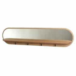 Etagère Vide-poche miroir porte-clés d'entrée design en bois