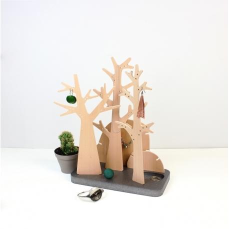 Porte-bijoux design en bois en forme de forêt