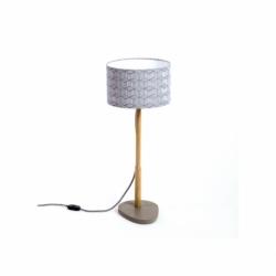 Lampe à poser design avec piètement en bois massif Hélios