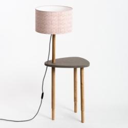 Lampe table basse design avec piètement en bois massif Séléné