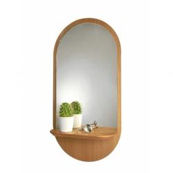 Miroir design avec tablette en bois Solstice de chez Reine Mère