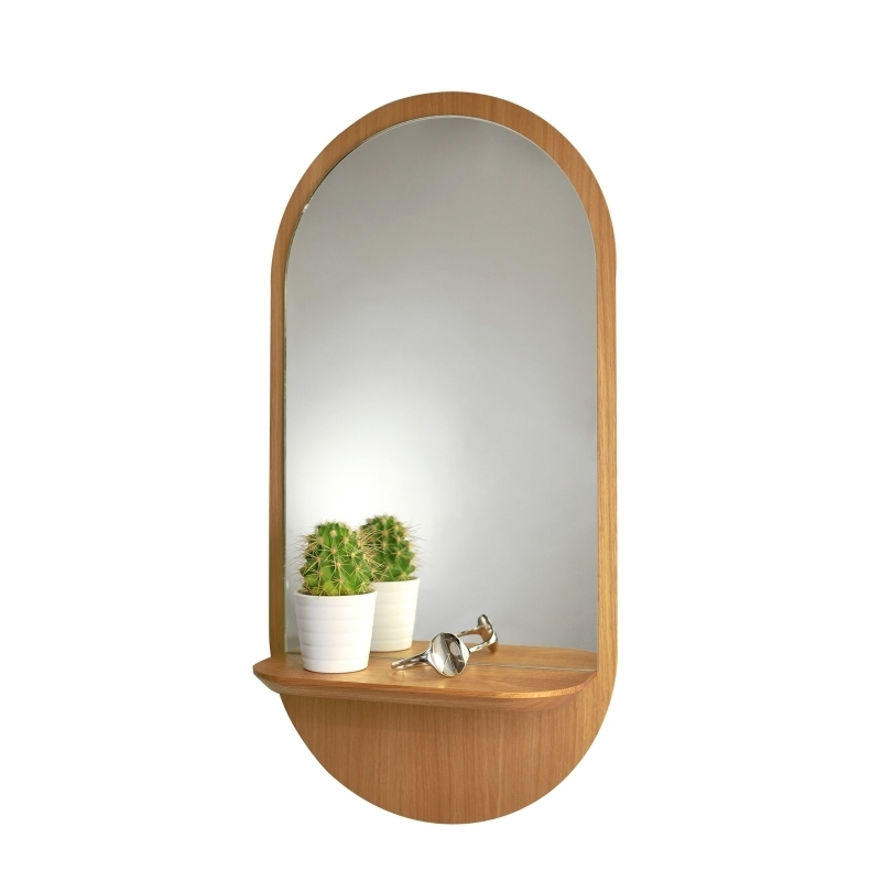 miroir design avec tablette en bois solstice de chez reine m re amobois. Black Bedroom Furniture Sets. Home Design Ideas